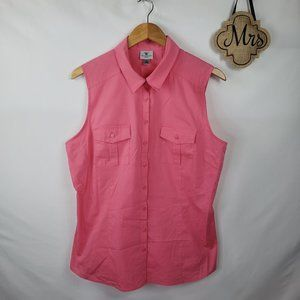Worthington Sleeveless Button Up Blouse Sz XL Pink